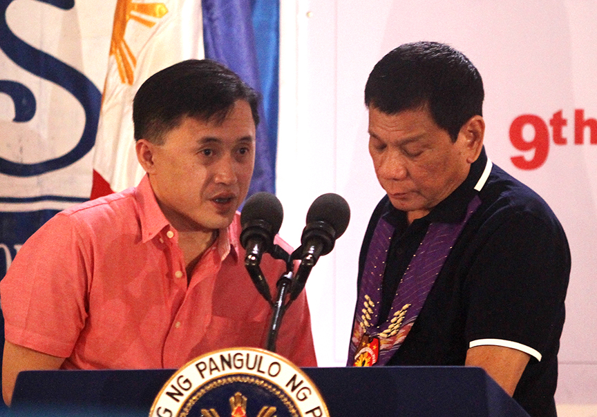 "Special Assistant to the President Sec. Christopher ""Bong"" Go with President Rodrigo Duterte. FILE PHOTO"