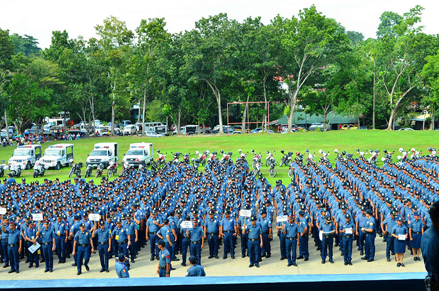 Police Regional Office 11 Regional Director PCSupt Manuel Gaerlan with the members of the command group leads the send-off of 1,446 pre-deployed personnel of PNP, AFP, Civilian and other agencies to provide security for the official launching of ASEAN 2017 Chairmanship on January 15, 2017 at Davao SMX Convention. PNP-XI Photo