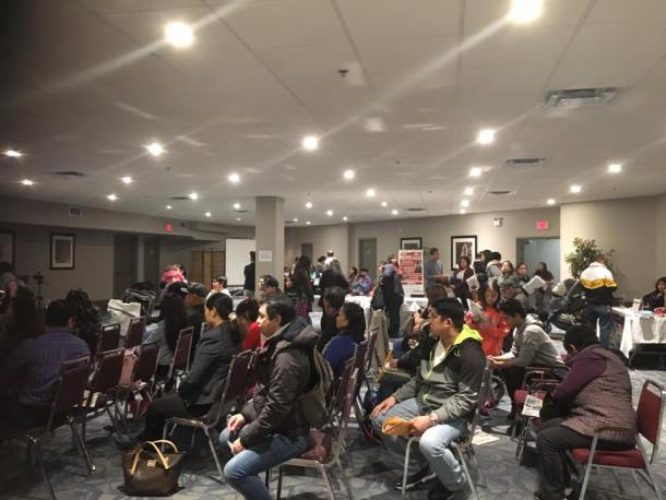 Filipinos gather at a local hotel in Edmonton and wait to be served by the Consulate General Calgary office staff.(Contributed photo)