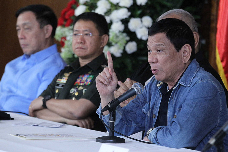 President Rodrigo Roa Duterte presides over the joint Armed Forces of the Philippines-Philippine National Police Command Conference at the Heroes Hall of Malacañan Palace on January 29, 2017. ACE MORANDANTE/Presidential Photo