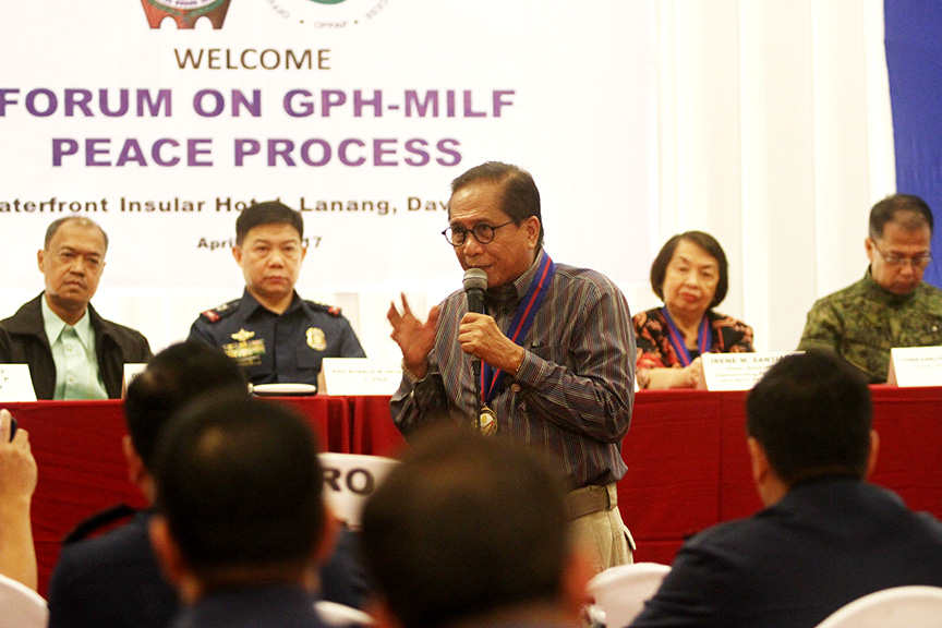 Presidential Adviser on the Peace Process Jesus Dureza provide updates on the peace efforts in Mindanao during a forum with the police officers coming from different parts of Mindanao in Davao City on Wednesday (26 April 2017). Newsline Photo