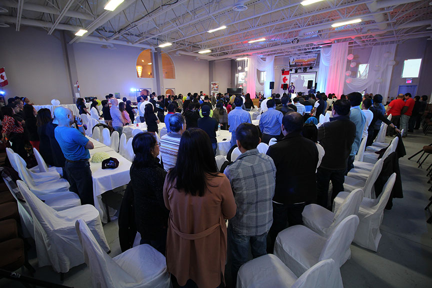 "More than 300 supporters of the Duterte Volunteers Alberta Canada show up for their first ""Reunion"", March 18, at the PCA Edmonton, Alberta, Canada. Father Jack Diaz officiated the special mass calling on the volunteers to be patient and to continue helping their fellow Filipinos.(Photo by Moses Billacura/Newsline Philippines)"