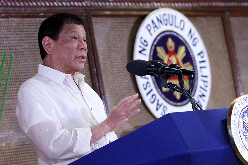 President Rodrigo Roa Duterte elaborates anew the need to correct the historical injustices committed against the Moros in Mindanao before peace could be achieved in his speech during the oath-taking ceremony of the newly-appointed government officials and the new officers of the Philippine Councilors' League (PCL) officers at the Heroes Hall in Malacañan Palace on March 30, 2017. RICHARD MADELO/Presidential Photo