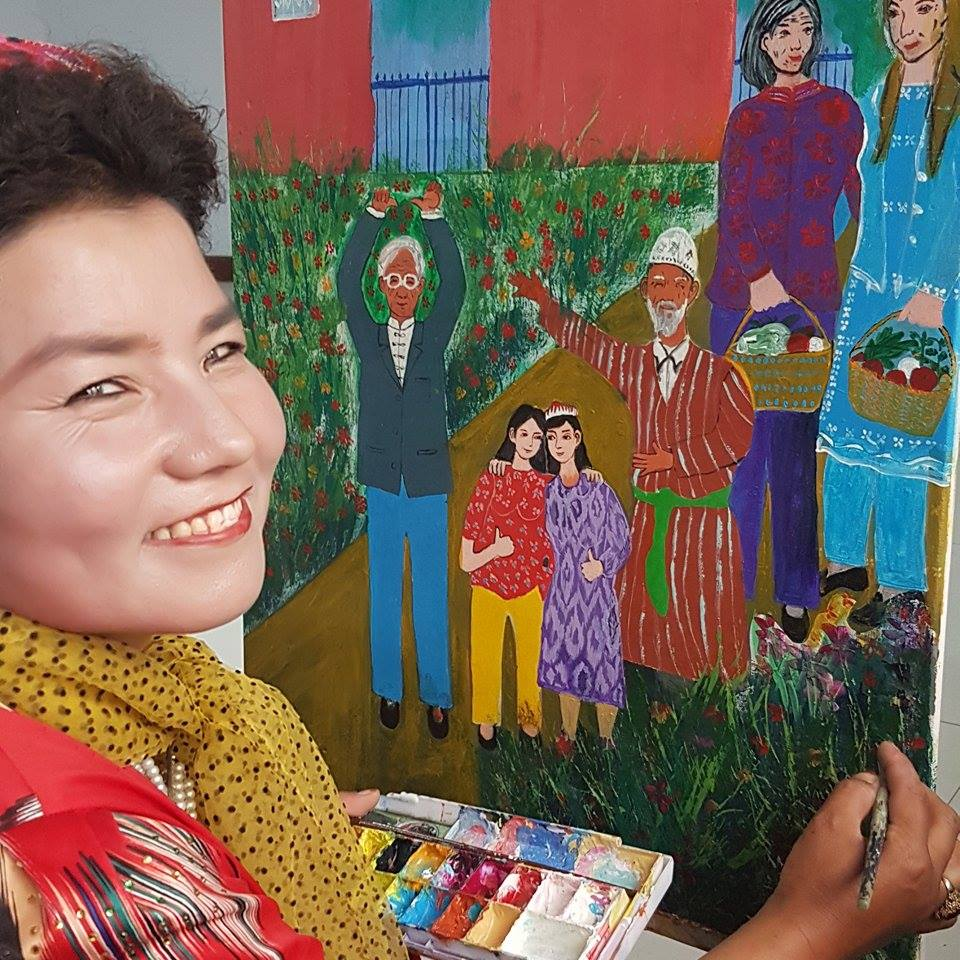 NUMFA- She is 52, a Xugur paintor, she loves to paibt about environment.
