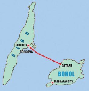 The sites of the  proposed Cebu-Bohol bridge