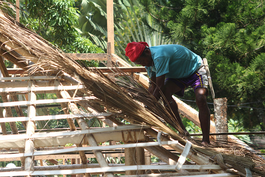 Datu Lumayong Bayontong fix cogon grass as a roofing of their traditional house at the tribal village' inside the Magsaysay Park in Davao City. The tribal village is among the attractions of the Kadayawan Festival next month. Newsline Photo